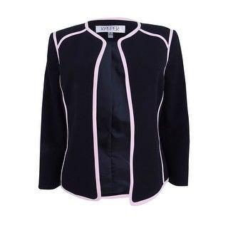 Kasper Women's Petite Contrast-Trim Blazer (8P, Black/Tutu Pink) - black/tutu pink - 8P