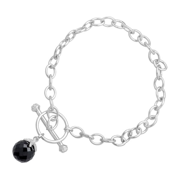 6 ct Natural Onyx Toggle Bracelet with Diamonds in Sterling Silver - Black