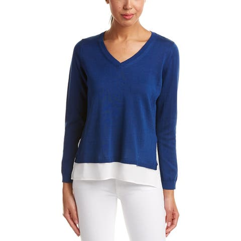 Joan Vass Silk-Trim Sweater