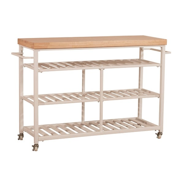 """Hillsdale Furniture 4701-8N Kennon 48"""" Wide Metal Framed Wood Top Island Cart with Casters"""