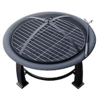 AZ Patio Heaters 30 inch Wood Burning Firepit With Cooking Grate - Black