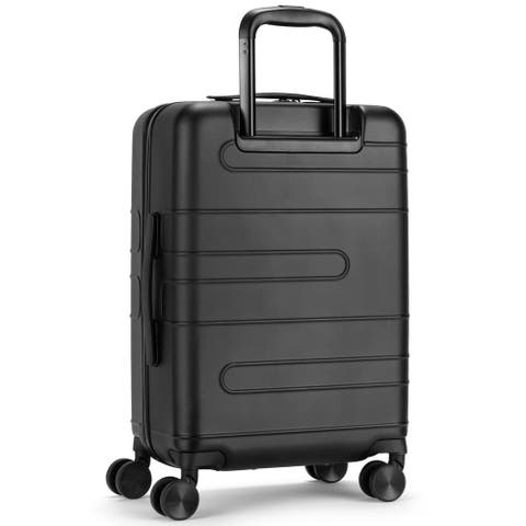 20 Inch Expandable Luggage Hardside Suitcase with Spinner Wheel and TSA Lock-Black
