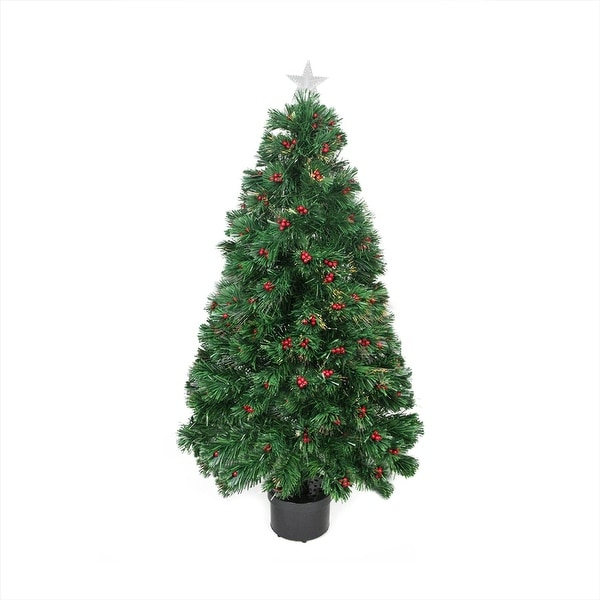3' Pre-Lit Color Changing Fiber Optic Christmas Tree with Red Berries - green