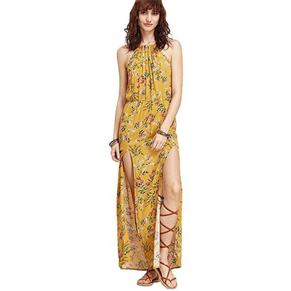 ea88bd88b5 Shop Women s Halterneck M Slit Floral Print Maxi Dress - Free ...