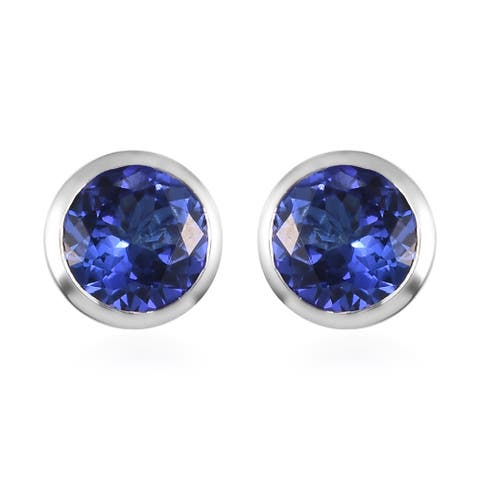 950 White Platinum AAAA Blue Tanzanite Solitaire Earrings Ct 2