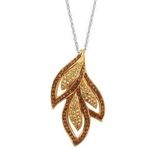 Crystaluxe Triple Leaf Pendant With Swarovski Crystals in Gold-Plated Sterling Silver - Brown
