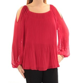 INC $80 Womens New 1574 Red Pleated Long Sleeve Square Neck Top 0X Plus B+B