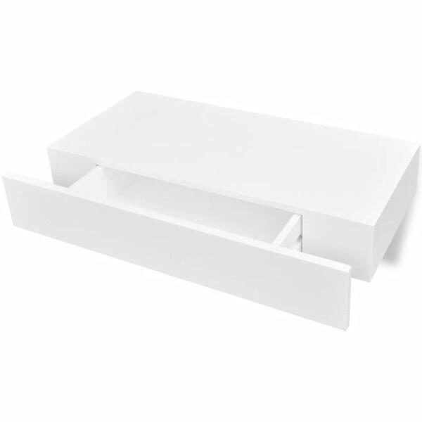 vidaXL MDF Floating Wall Display Shelf 1 Drawer Book/DVD Storage