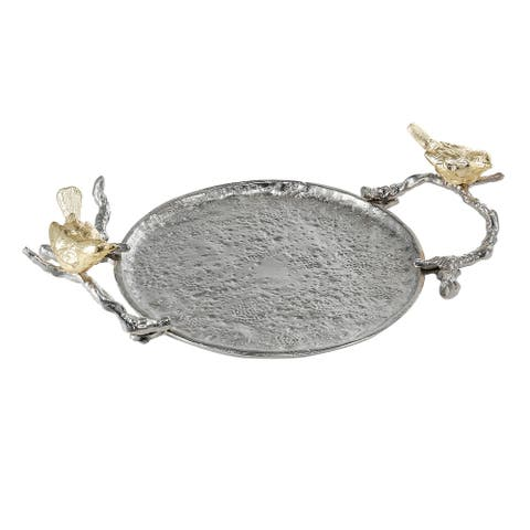 A&B Home Alvada 5-inch Gold and Silver Decorative Tray