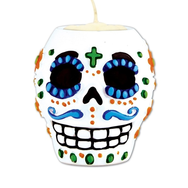 Pack of 6 Orange, Blue and Green Male Day Of The Dead Skull Tea Light Candle Holder 6Oz.