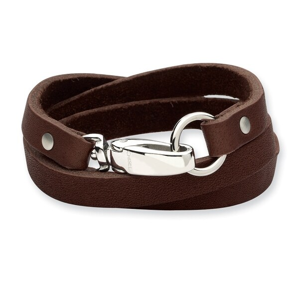 Chisel Stainless Steel Dark Brown Leather Wrap Bracelet