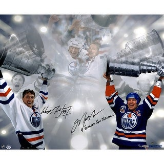 Wayne GretzkyMark Messier Dual Edmonton Oilers Stanley Cup 16x24 Photo w 4 Stanley Cups Together In