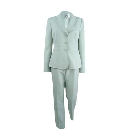 Le Suit Women's Damask-Stripe Pantsuit - Mint Multi