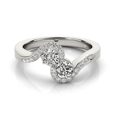 Lucid Styles 14K Gold 0.60 CT Round Cut Two-Stone Diamond Ring