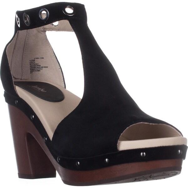 Jambu Sheila Platform Studded T-Strap Sandals, Black