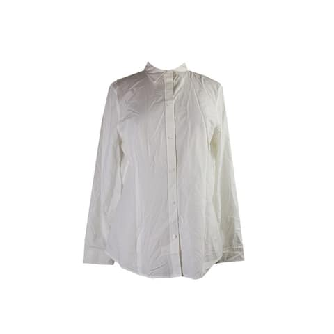 Anne Klein White Long-Sleeve Button-Down Shirt 14