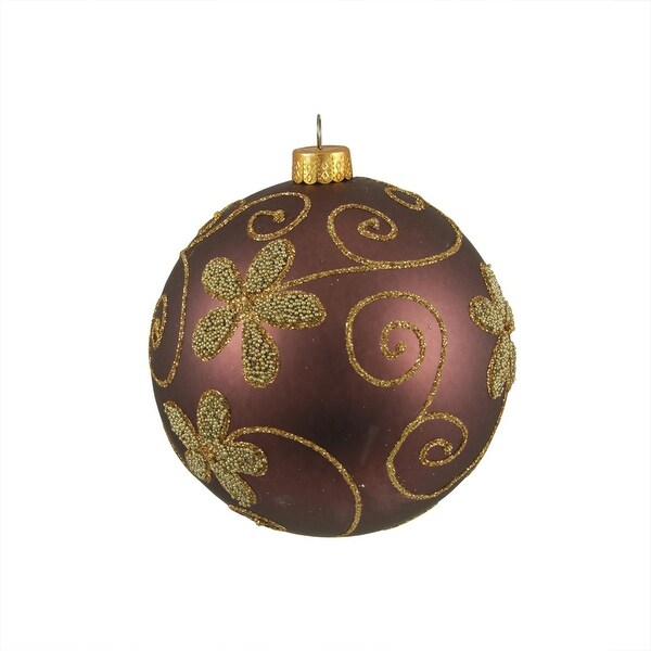 "Matte Brown with Floral Design Shatterproof Christmas Ball Ornament 4"" (100mm)"