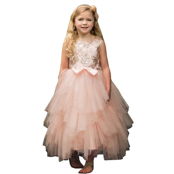 0e6167ed976b Shop Little Girls Blush Sequin Tiered Tutu Flower Girl Dress - Free  Shipping Today - Overstock - 24122499