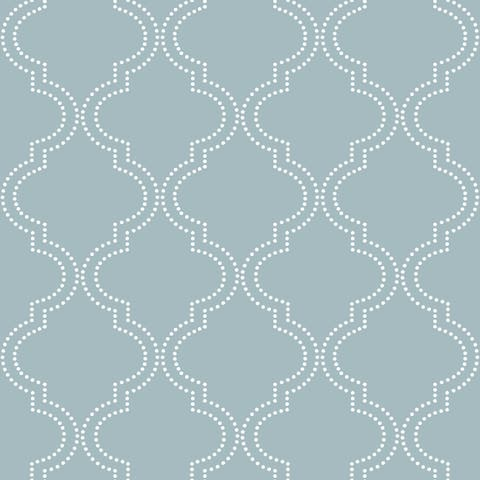 "Brewster NU1826 30-3/4 SF ""Slate Blue Quatrefoil"" Peel and Stick Vinyl Wallpaper -"