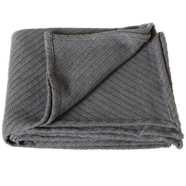 "Set of 2 Gray Diagonal Herringbone Patterned Throw Blanket 50"" X 60"""