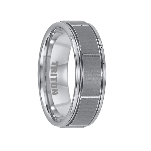 AVERY Tungsten Ring with Raised Brushed Center and Horizontal Cuts by Triton Rings - 7mm