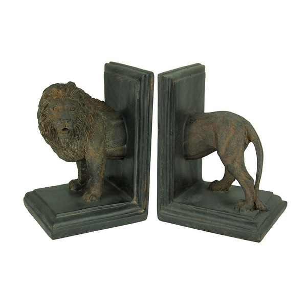 Antique Stone Finish Lion Top and Tail Bookend Set - 6.5 X 4.25 X 4 inches. Opens flyout.