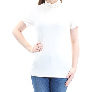 Womens Ivory Short Sleeve Turtle Neck Top Size XL