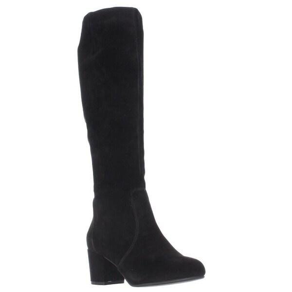 Steve Madden Haydun Block Heel Tall Boots, Black Suede