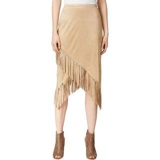 Kensie Womens Skirt Faux-Suede Fringe - S