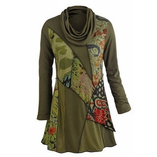 Women's Tunic Top - We Love Olive Patchwork Printed Cowl Neck Blouse|https://ak1.ostkcdn.com/images/products/is/images/direct/f9c2d56b69383bf7260ffe3ba046566e1797fb5b/Women%27s-Tunic-Top---We-Love-Olive-Patchwork-Printed-Cowl-Neck-Blouse.jpg?_ostk_perf_=percv&impolicy=medium