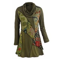 Women's Tunic Top - We Love Olive Patchwork Printed Cowl Neck Blouse