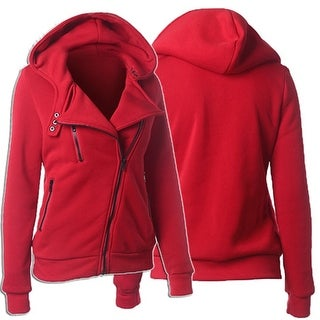 Women's Casual Zippered Asymmetrical Front Side Pockets Hoodie Coat Outerwear