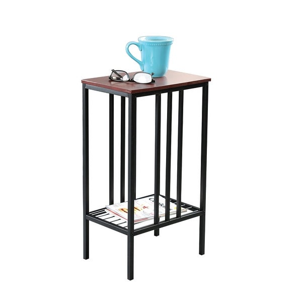shop chair side sofa accent table black iron with walnut top storage table snack tv tray for. Black Bedroom Furniture Sets. Home Design Ideas