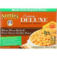 Annies Homegrown Macaroni Dinner - Creamy Deluxe - Whole Wheat Shells and Extra Cheesy Cheddar Sauce - 9.5 oz - 12 Pack