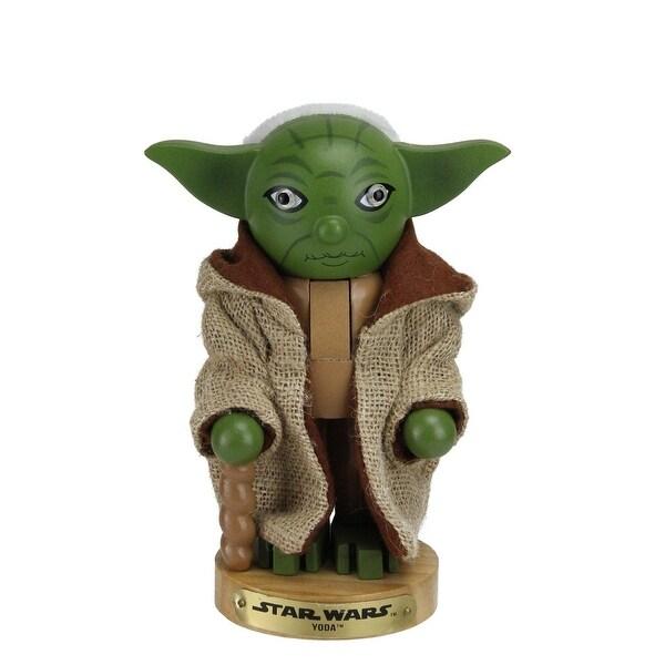"7.5"" Star Wars Master Yoda Wooden Christmas Nutcracker Figure - green"