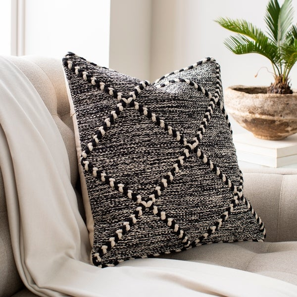 The Curated Nomad Pyrola Handwoven Black & White Boho Throw Pillow. Opens flyout.