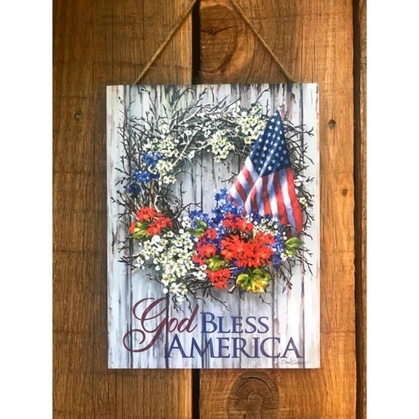 """White and Blue """"God Bless America"""" Printed Rectangular Wall Sign with Rope Hanger 10"""" x 7.5"""" - N/A"""