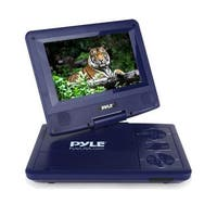7'' Portable CD/DVD Player, Built-in Rechargeable Battery, USB/SD Card Memory Readers (Blue)