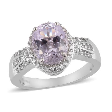Shop LC Platinum Over 925 Silver Kunzite Zircon Halo Ring Ct 4