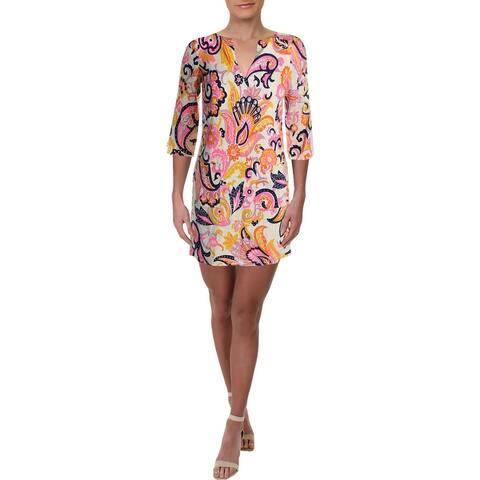 Julie Brown Womens Meghan Mini Dress V-Neck Paisley - Ivory Paisley