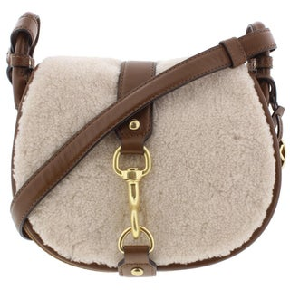 MICHAEL Michael Kors Womens Jamie Saddle Handbag Leather Shearling Trim - Medium