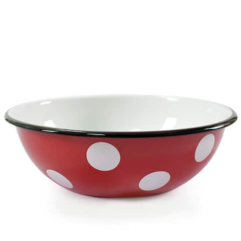 STP-Goods 1.6-Quart Black Rim Red White Polka-dot Enamelware Bowl