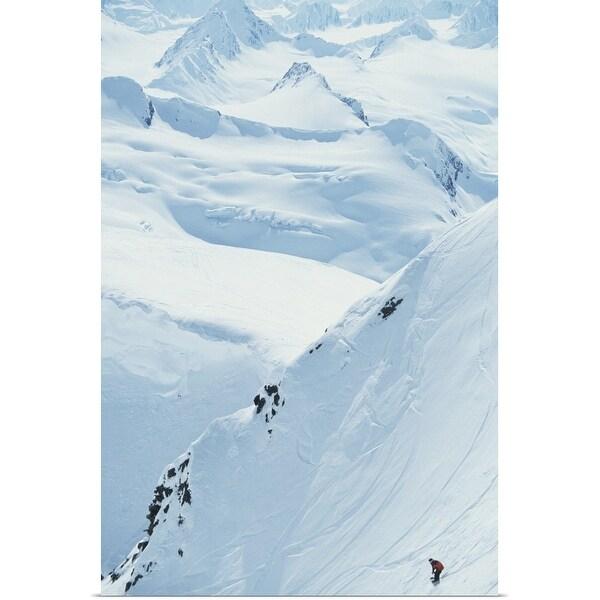 """Snowboarding, Chugach Mountains, Alaska, USA, elevated view"" Poster Print"