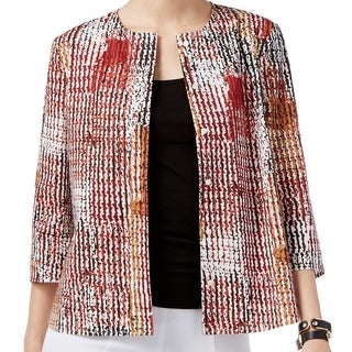 Anne Klein NEW Red Womens Size 14 Printed Button Down 3/4 Sleeve Jacket
