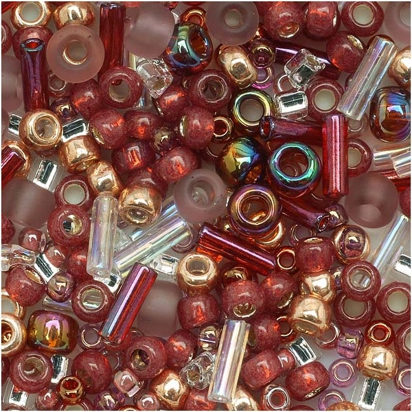 Toho Multi-Shape Glass Beads 'Kokoro' Mauve/Gold Color Mix 8 Gram Tube