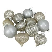 "12-Piece Silver Assorted Finish Glass Ornament Set 4"" (100mm)"
