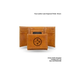 4 Brown NFL Pittsburgh Steelers Laser Engraved Trifold Wallet N A