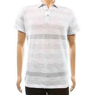 Calvin Klein NEW White Striped Mens Size Medium M Polo Shirt Cotton