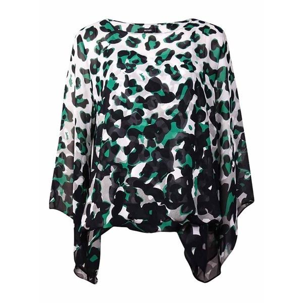 Alfani Women's Chiffon Animal Printed Blouse - ombre green