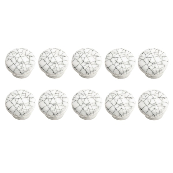 Crazed Gray-White Porcelain Knobs 1 dia, Set of 10
